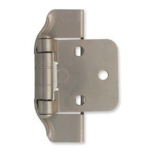 H01915c Sn Satin Nickel 1 2 Overlay Semi Wrap Hinge 2 Pack Overlay Hinges Liberty Hardware Overlay Cabinet Hinges