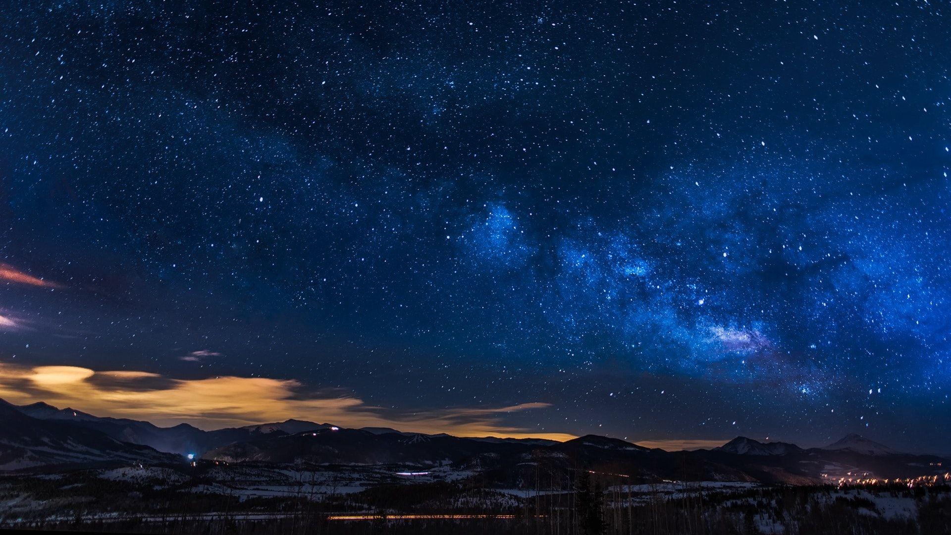 Black Mountains Under The Stars At Nighttime 1920x1080 Computer Wallpaper Desktop Wallpapers Night Sky Wallpaper Computer Wallpaper