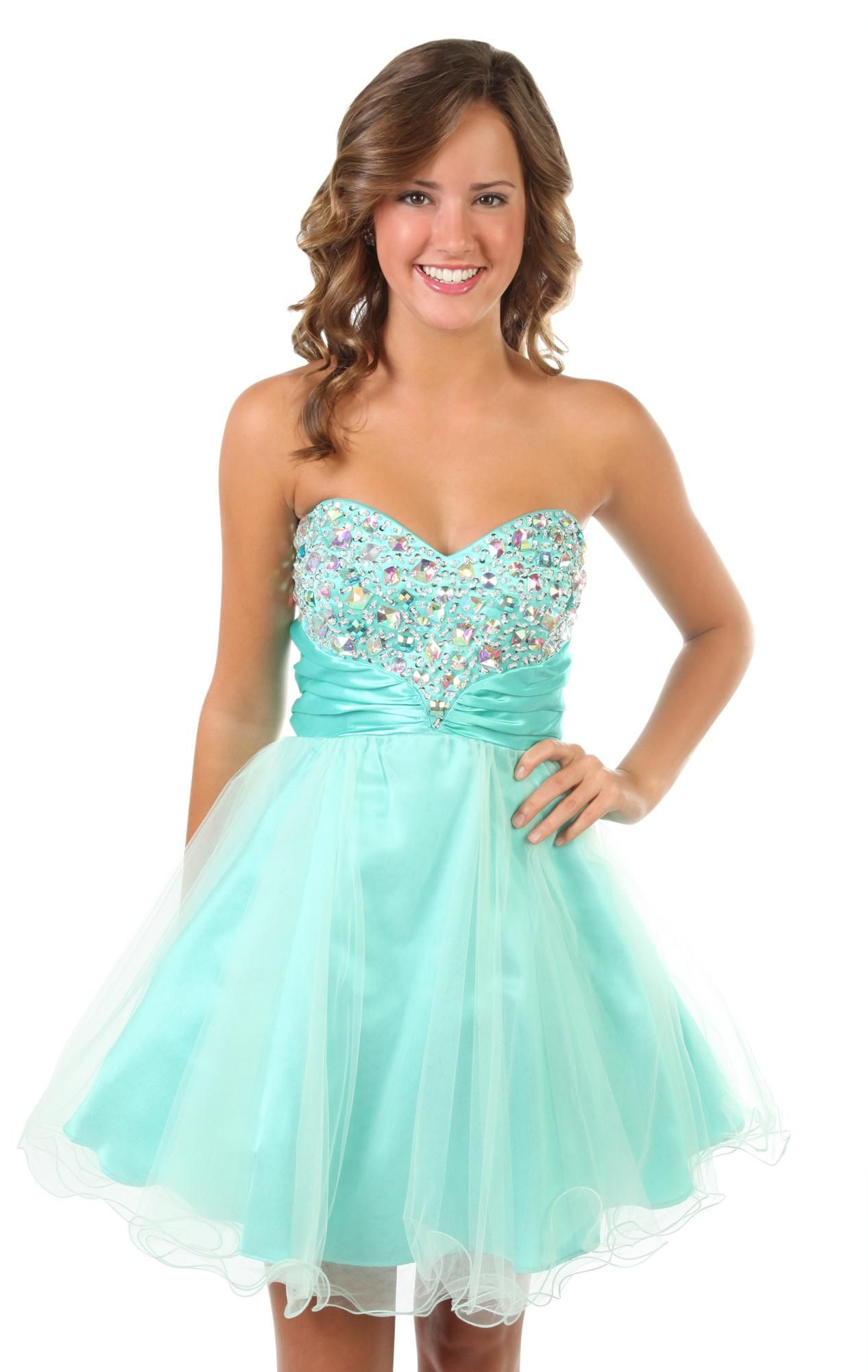 chunky stone two tone mesh strapless party #prom #dress $84.50 | My ...