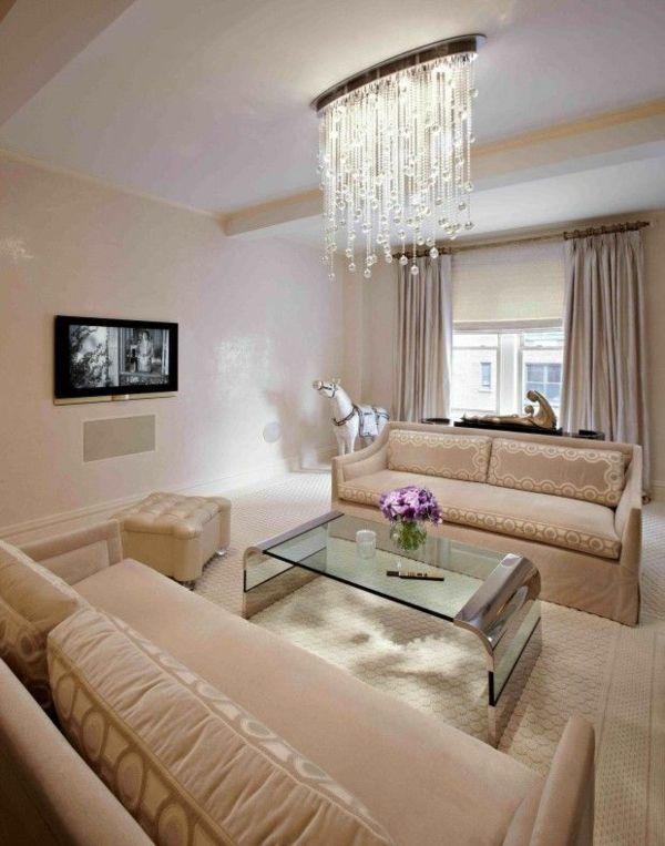 wohnideen wohnzimmer beleuchtung kronleuchter kristall ornamente ...