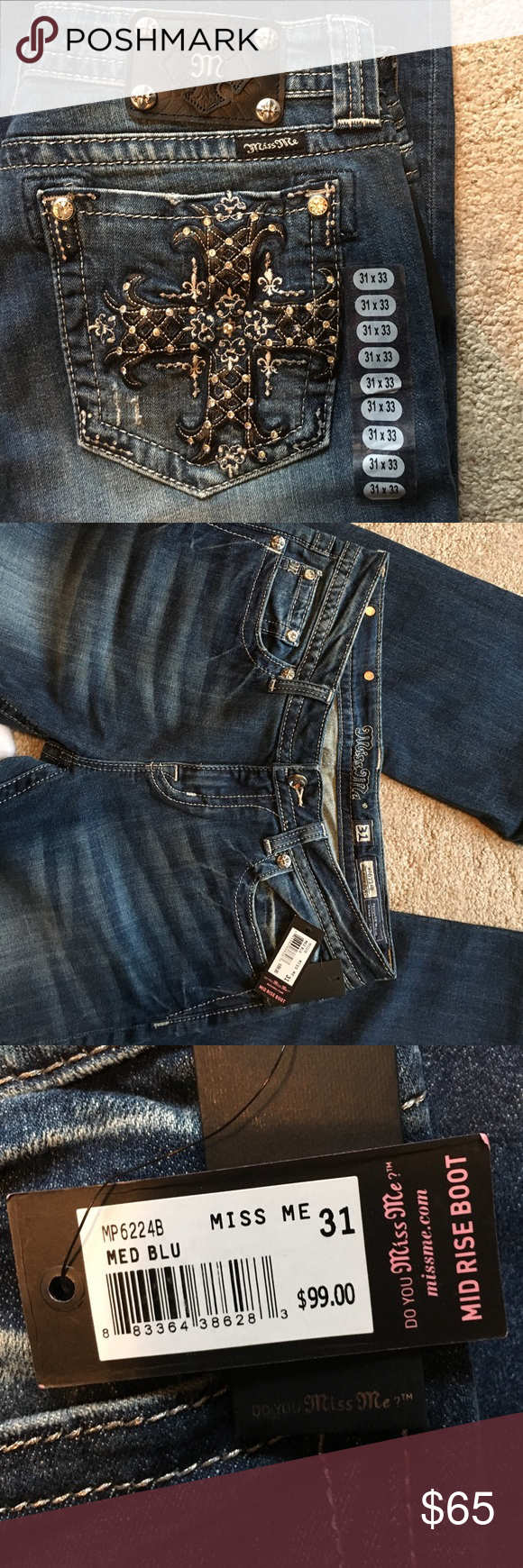 Miss Me Jeans Beautiful Miss Me jeans! New with tags. Perfect for a girls night out! Miss Me Jeans Boot Cut
