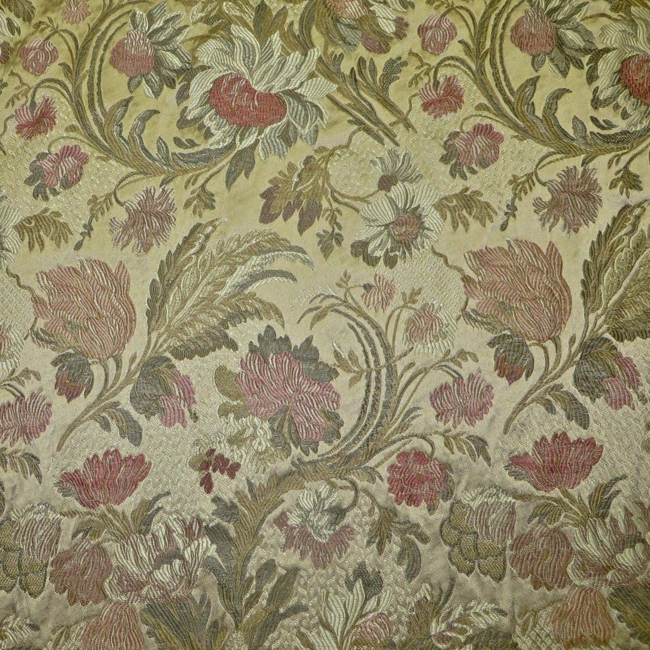 5 25 Yards Burnished Gold Multi Jacobean Floral Upholstery Fabric