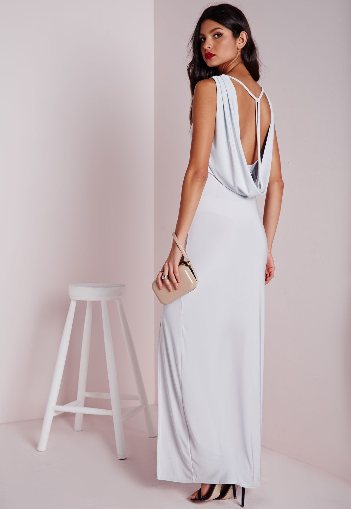 fa8de2bff0 Missguided - Slinky Cowl Back Maxi Dress Silver