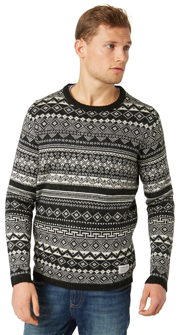 """Strick-Pullover mit Jaquard-Muster für Männer (gemustert, langärmlig mit Rundhals-Ausschnitt) aus angenehmen Material-Mix mit Woll-Anteil, feine Rippblende an den Saum-Enden, """"Tom Tailor""""-Badge vorne am Saum. Material: 88 % Polyacryl 8 % Wolle 4 % Mohair..."""