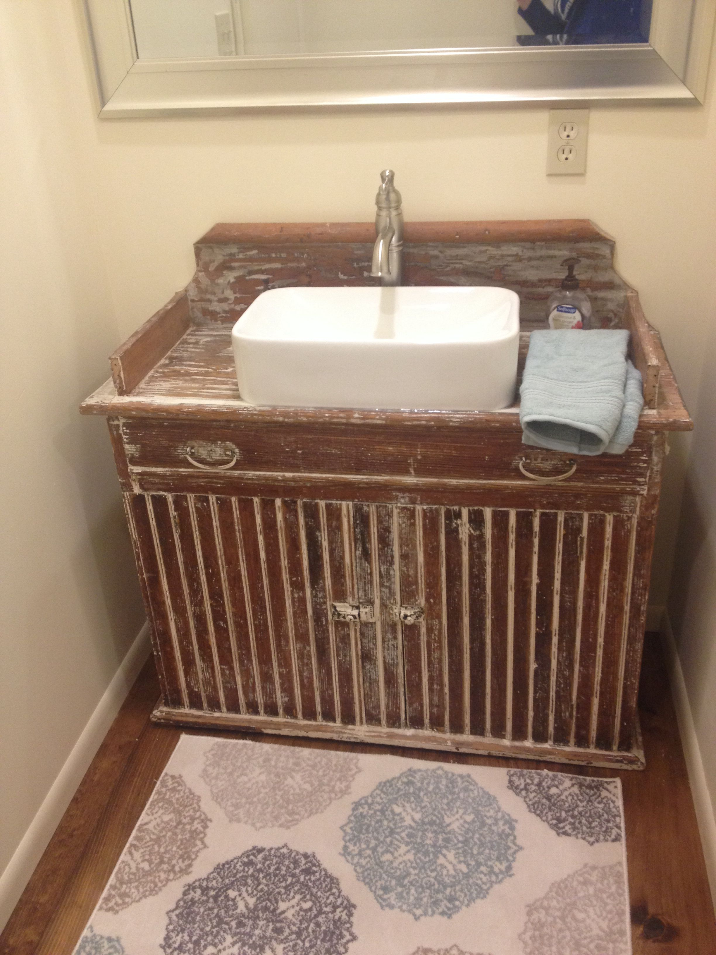 A Primitive Dry Sink We Made Into A Bathroom Vanity Vessel Sink