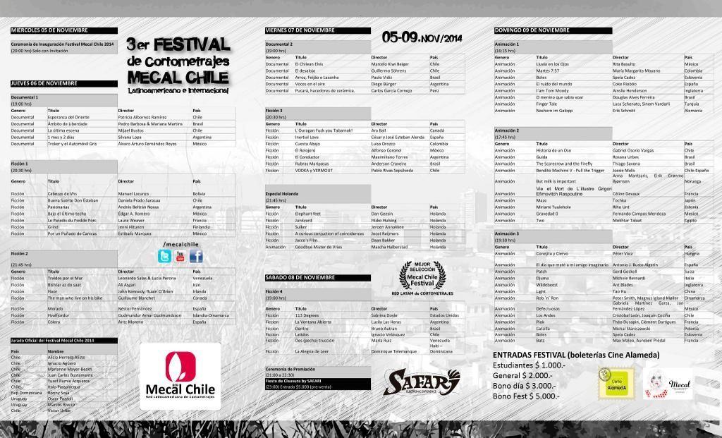 ¡Atentos estudiantes de cine! FESTIVAL CORTOS Mecal Chile. Del 05 al 09 NOVIEMBRE en Cine Arte Alameda  #mecalchile #cortos #cine