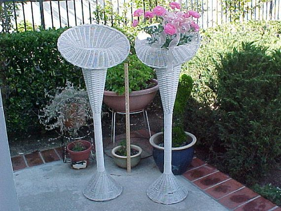 White Stand Up Fans : Vintage shabby chic florist tall white wicker basket fan