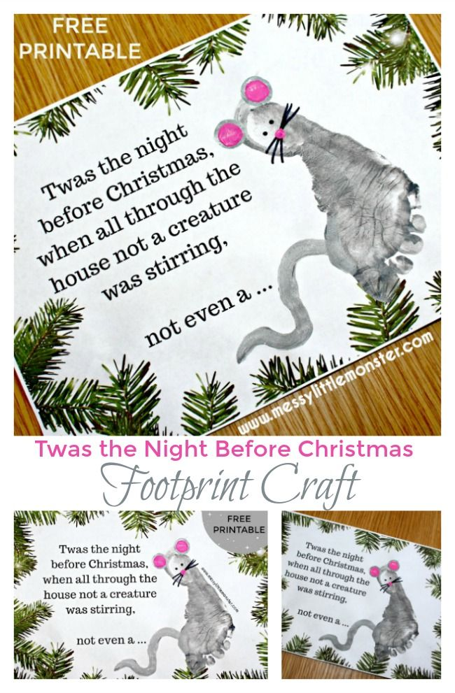 The Night Before Christmas Poem Printable Footprint Mouse Craft