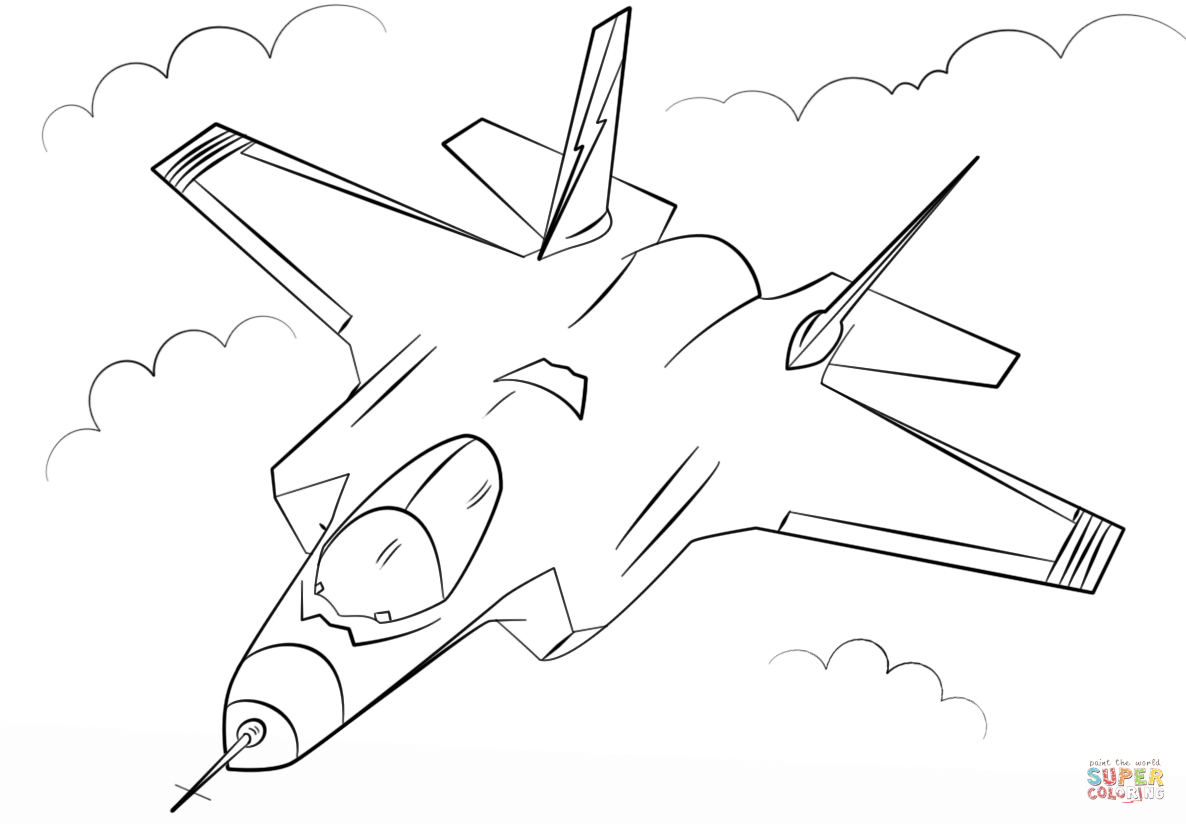 Stealth Multirole Fighter F 35 Super Coloring Airplane Coloring Pages Coloring Pages Bird Coloring Pages