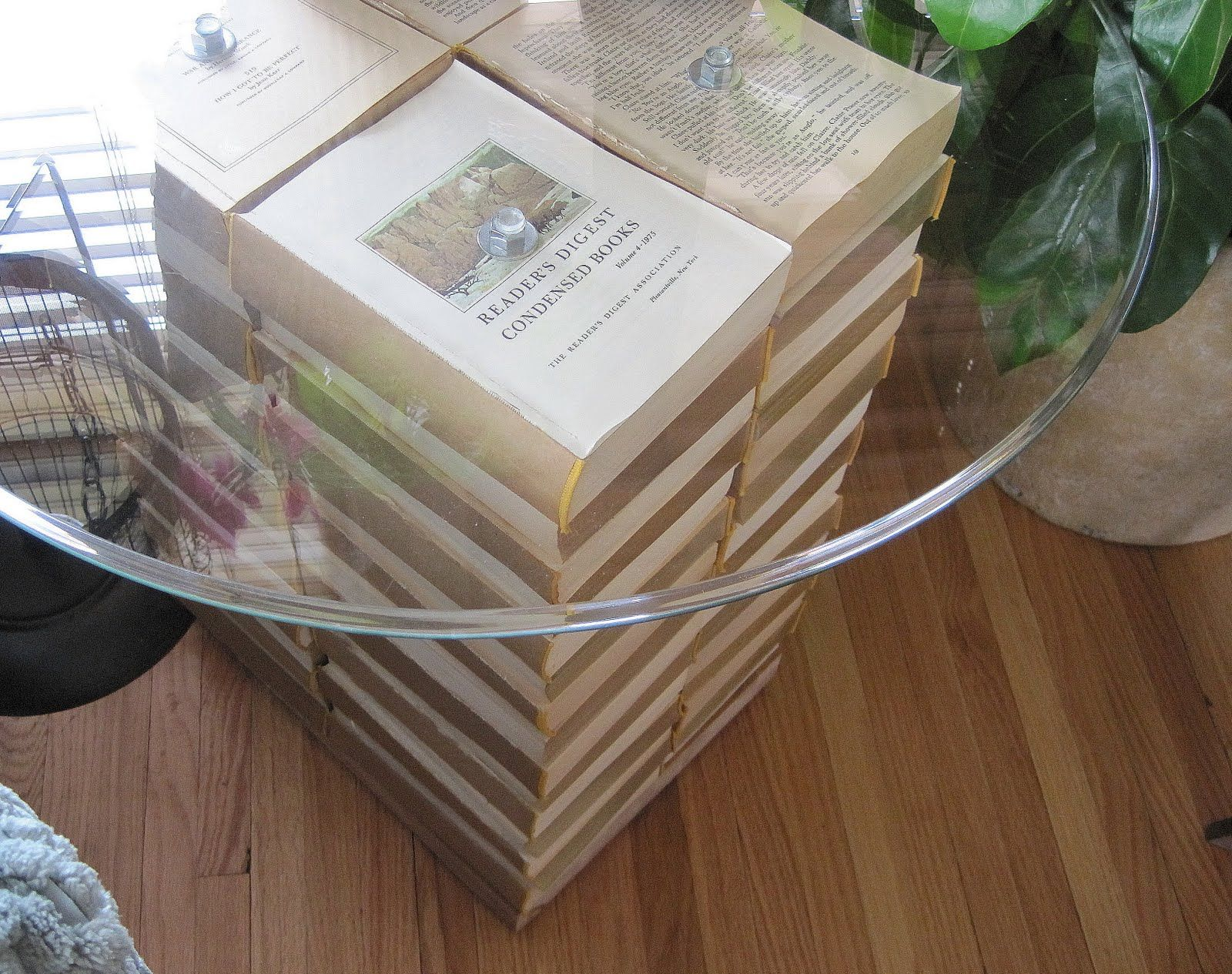 A Side Table Made Of Stacks Of Books! Drill Through The Center Of The Books