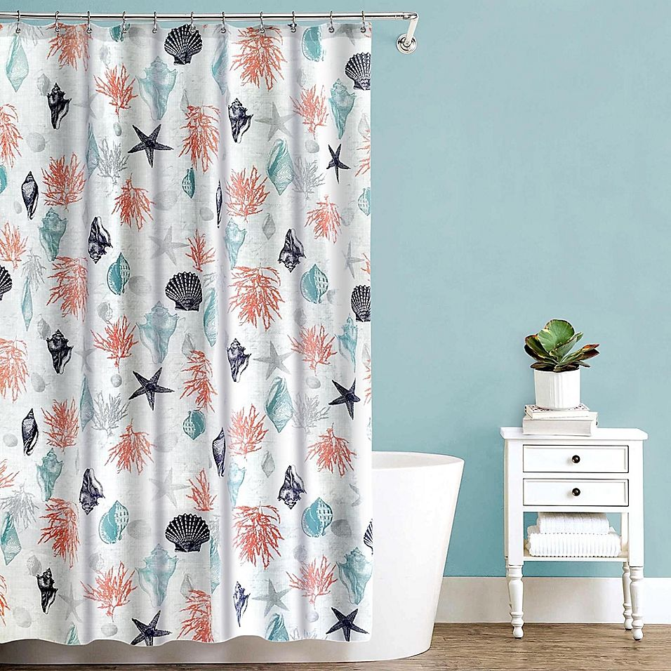 Sea Trove Peva Shower Curtain In Coral Shower Curtain Curtains
