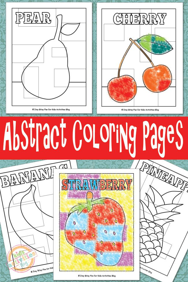 Fruit abstract coloring pages for kids. These are so much fun and free to print.
