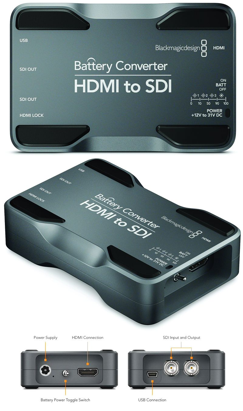 Blackmagic Design Convbatt Hs Battery Converter Hdmi To Sdi With Li Ion Battery Blackmagic Design Hdmi Converter