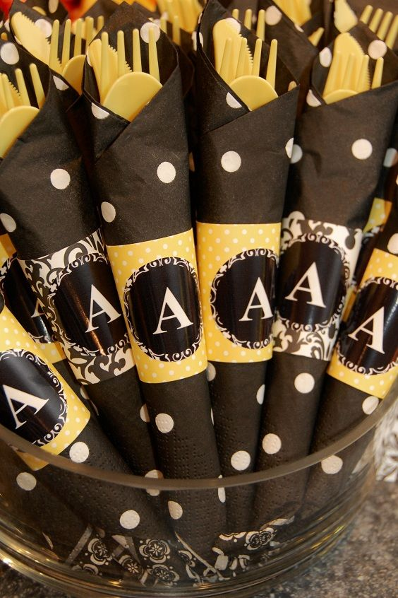Wrapped Silverware For A Bumble Bee Party