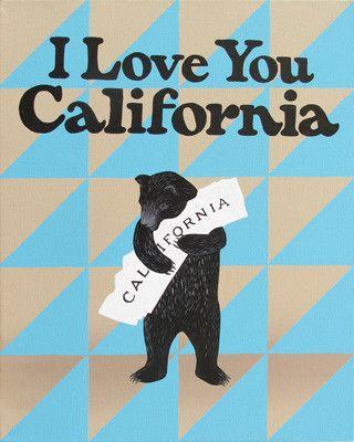 """I Love You California"" Blue Grey Print from 3 Fish Studios"
