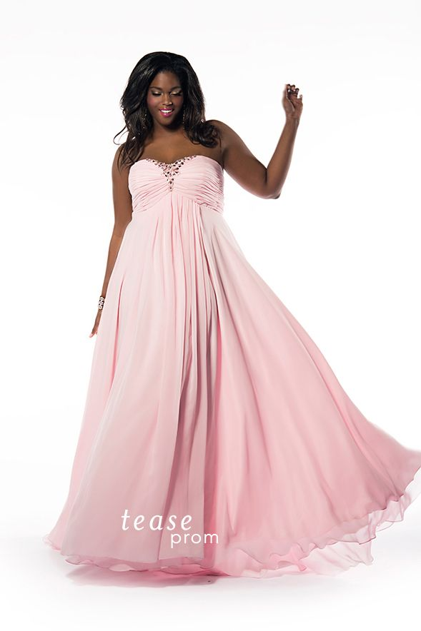 You\'re so on trend wearing this soft #pink plus size dress to #Prom ...