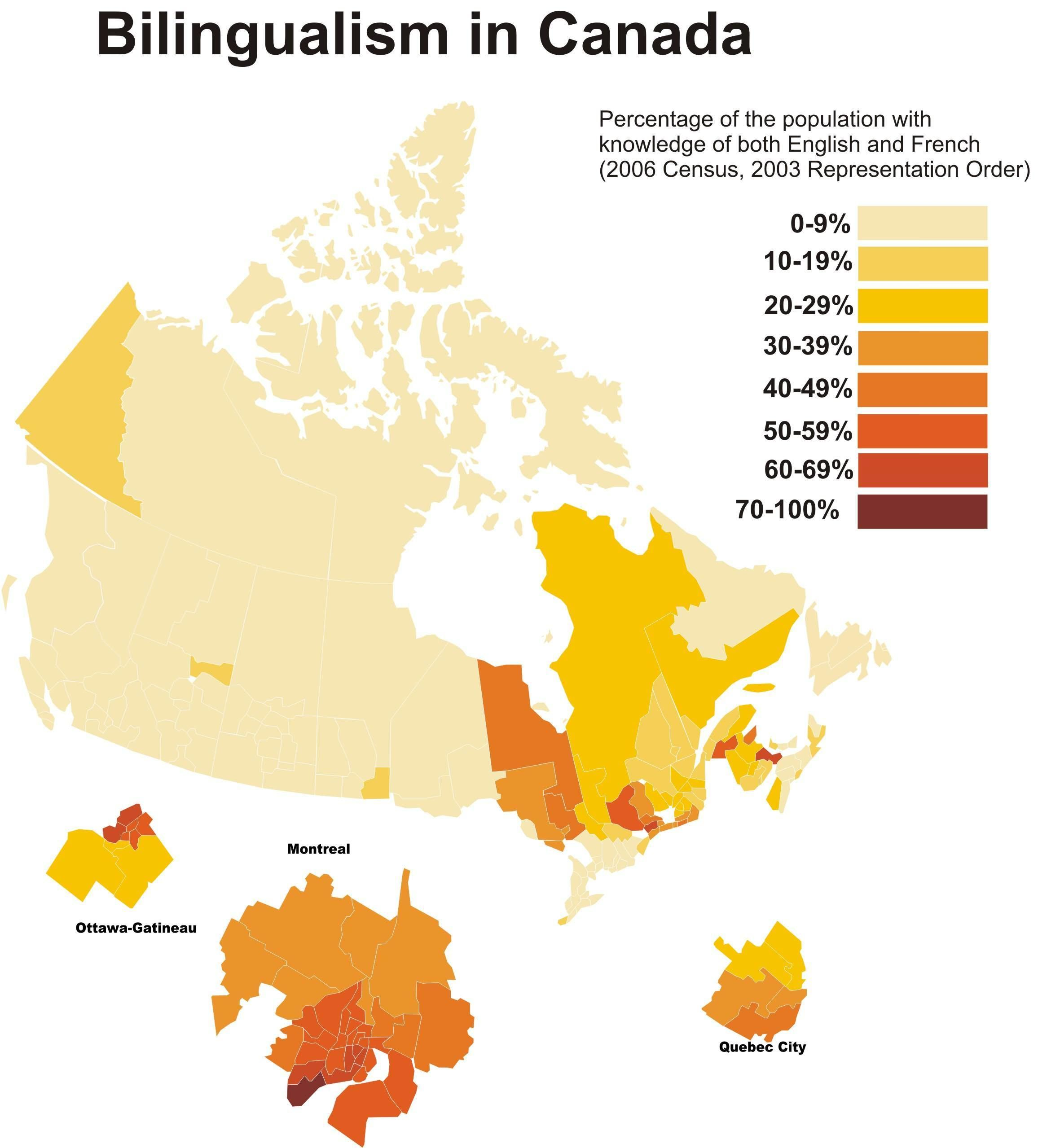 Percentage Of People Who Can Speak Both English And French In Canada Canada Map Canada Map