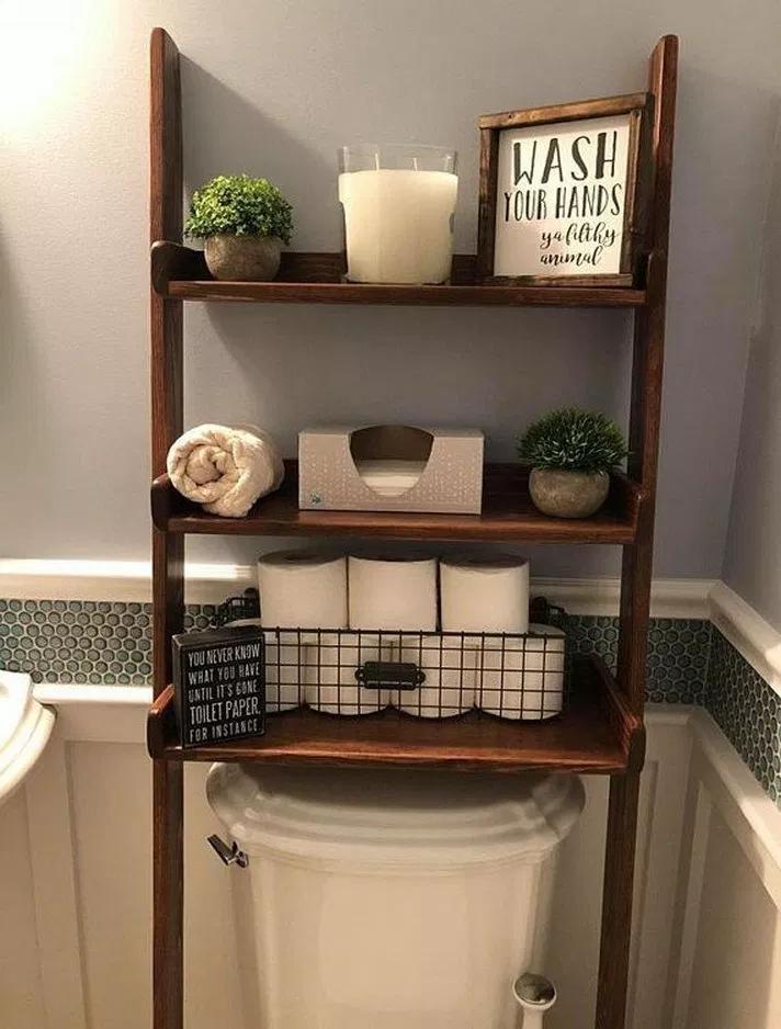 62 Marvelous Farmhouse Bathroom Storage And Organization Ideas Marvelousfarmhousebathroom Farmhousebathroomideas Farmhousebathroomdesig Rustic Bathroom Decor Home Decor Shelves Over Toilet