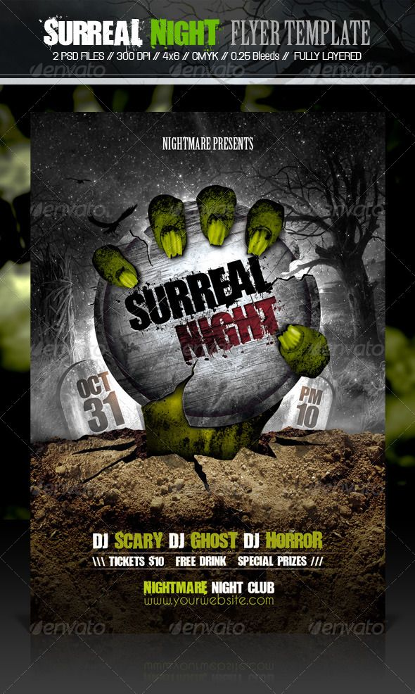 Surreal Night Flyer Template  Flyer Template Template And Event