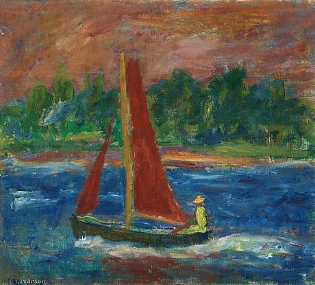 IVAN IVARSON, Boat with red sails. Signed I. Ivarson. Canvas 42 x 46 cm.. - Modern Autumn Sale, Stockholm 563 – Bukowskis