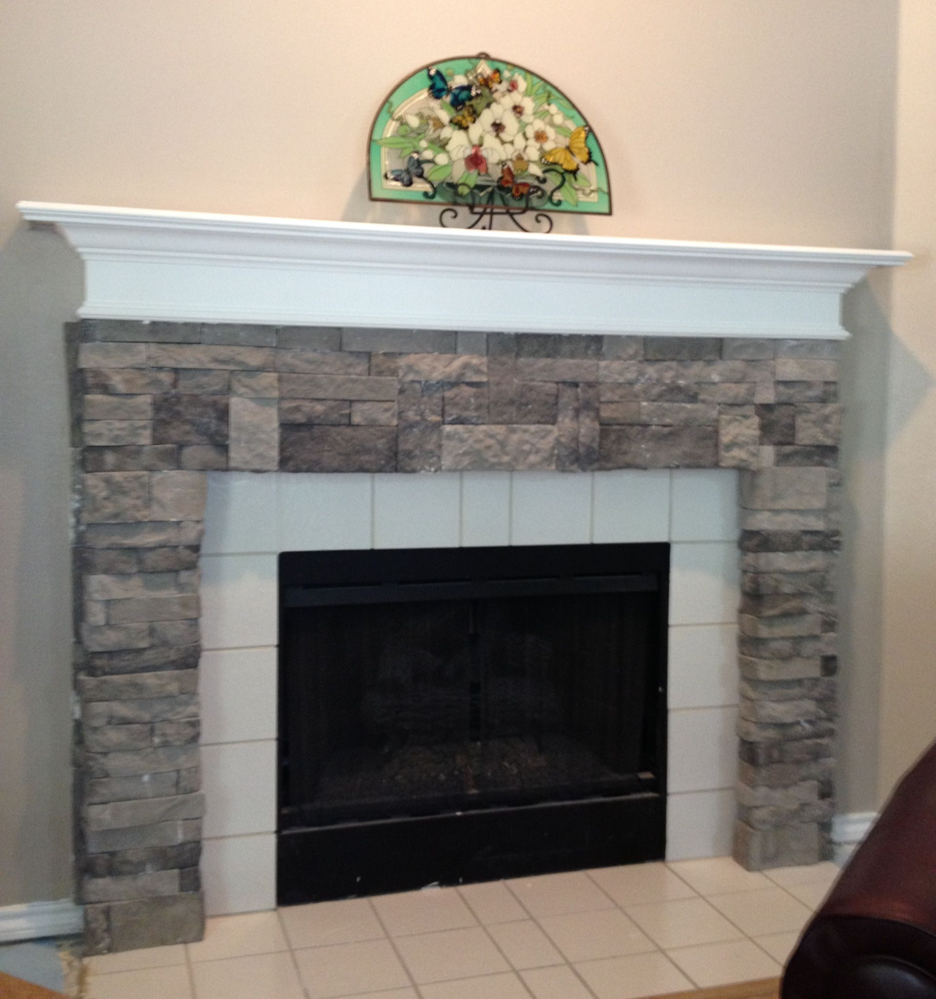 Air Stone (at Lowes) turns a builder-grade fireplace into stone ...