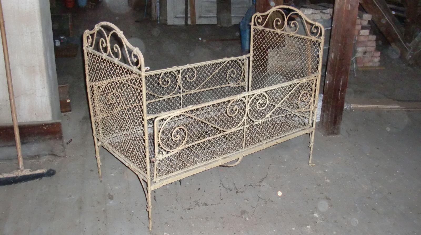 Antikes Metall Kinderbett Klappbett Gitterbett Jugendstil Um