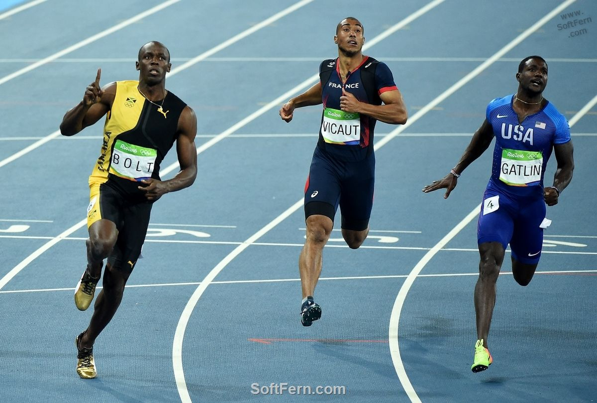 Golden finish of Usain Bolt Video. Olympic Games Rio 2016