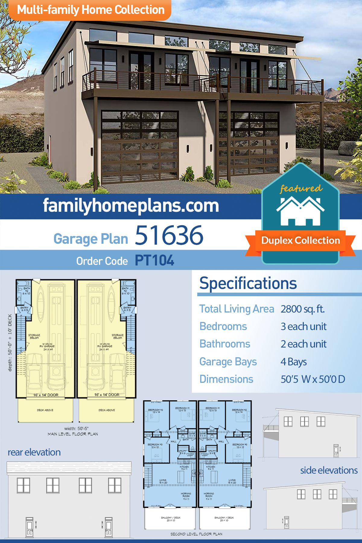 Modern Style MultiFamily Plan 51636 with 6 Bed , 4 Bath