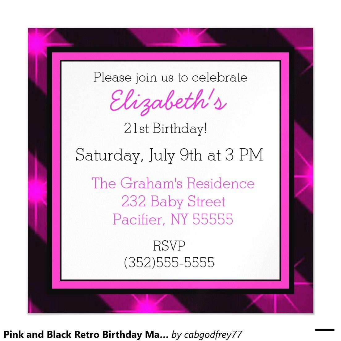 Pink and black retro birthday magnetic invitation retro birthday pink and black retro birthday magnetic invitation filmwisefo