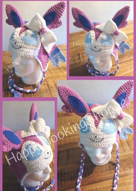 649bf899473 Handcrafted crochet Sylveon hat by HappyHookingShoppe on Etsy ...