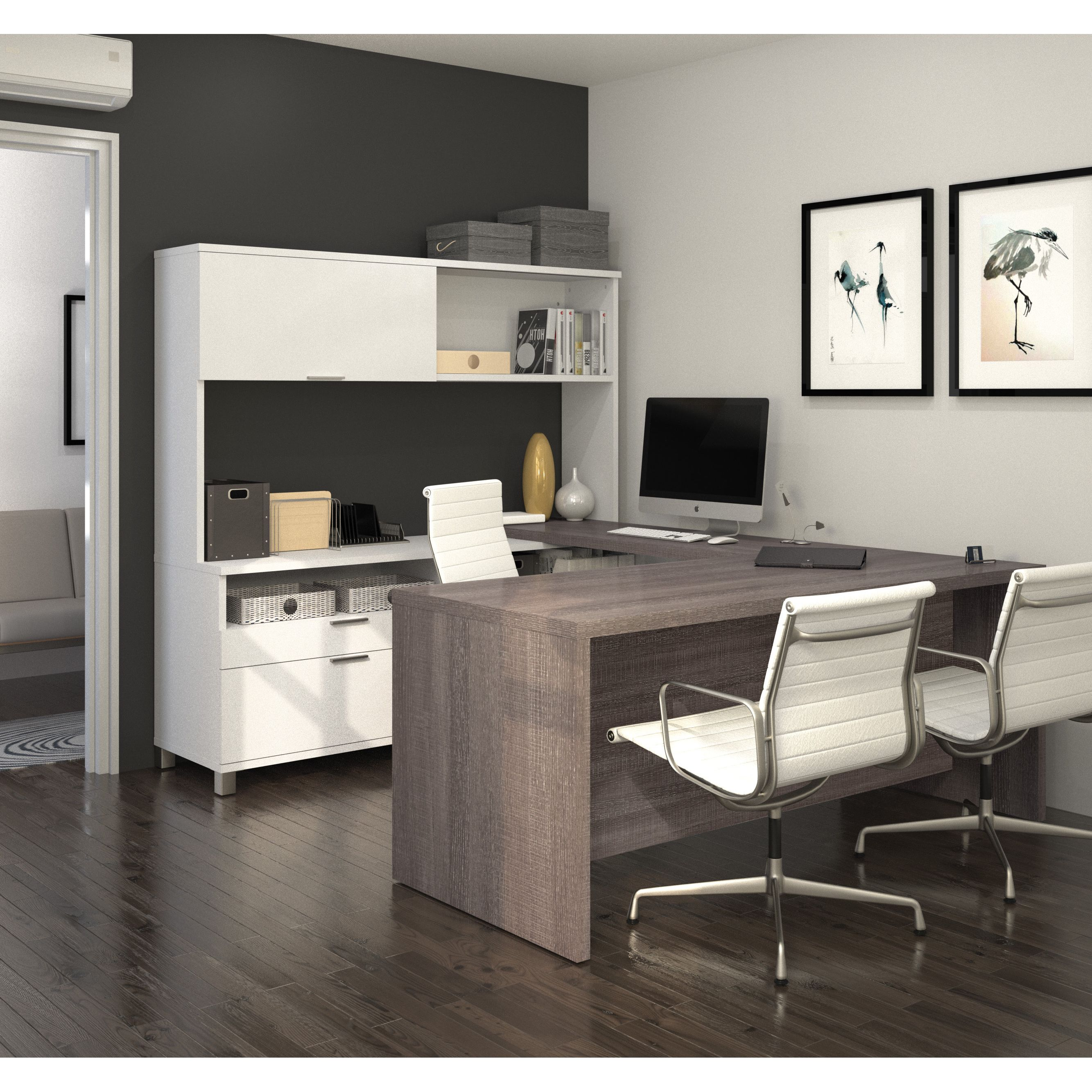 basic office desk. The Bestar U-desk With Hutch Turns A Basic Office Into One Of Most Desk H