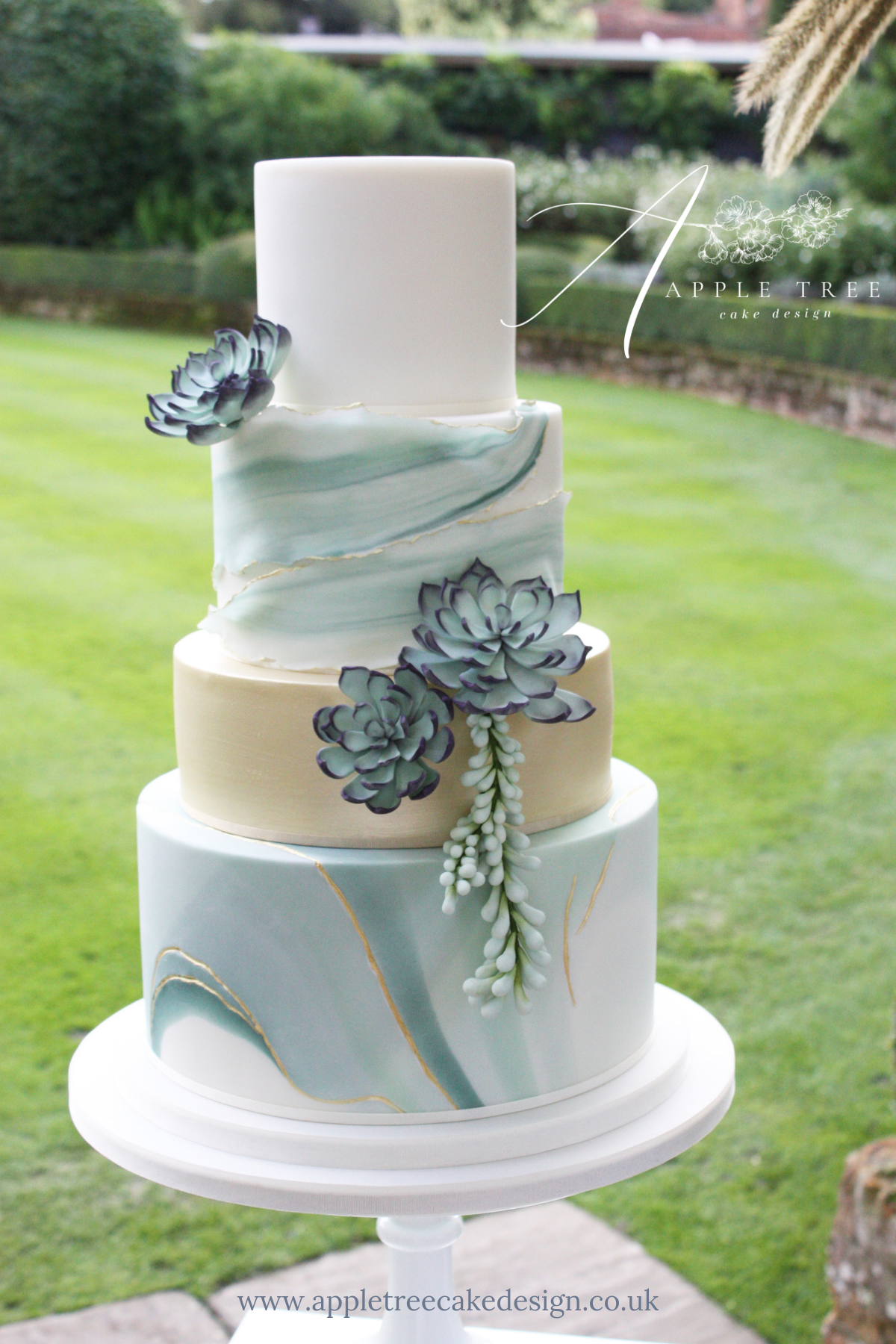 Jade A Contemporary Wedding Cake Decorated With Sugar Flower