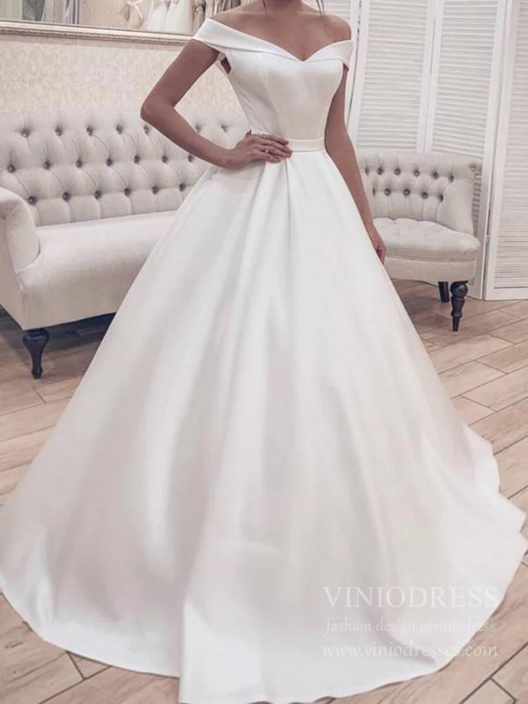 Elegant Simple Modest Wedding Dresses Off the Shoulder VW20 in ...