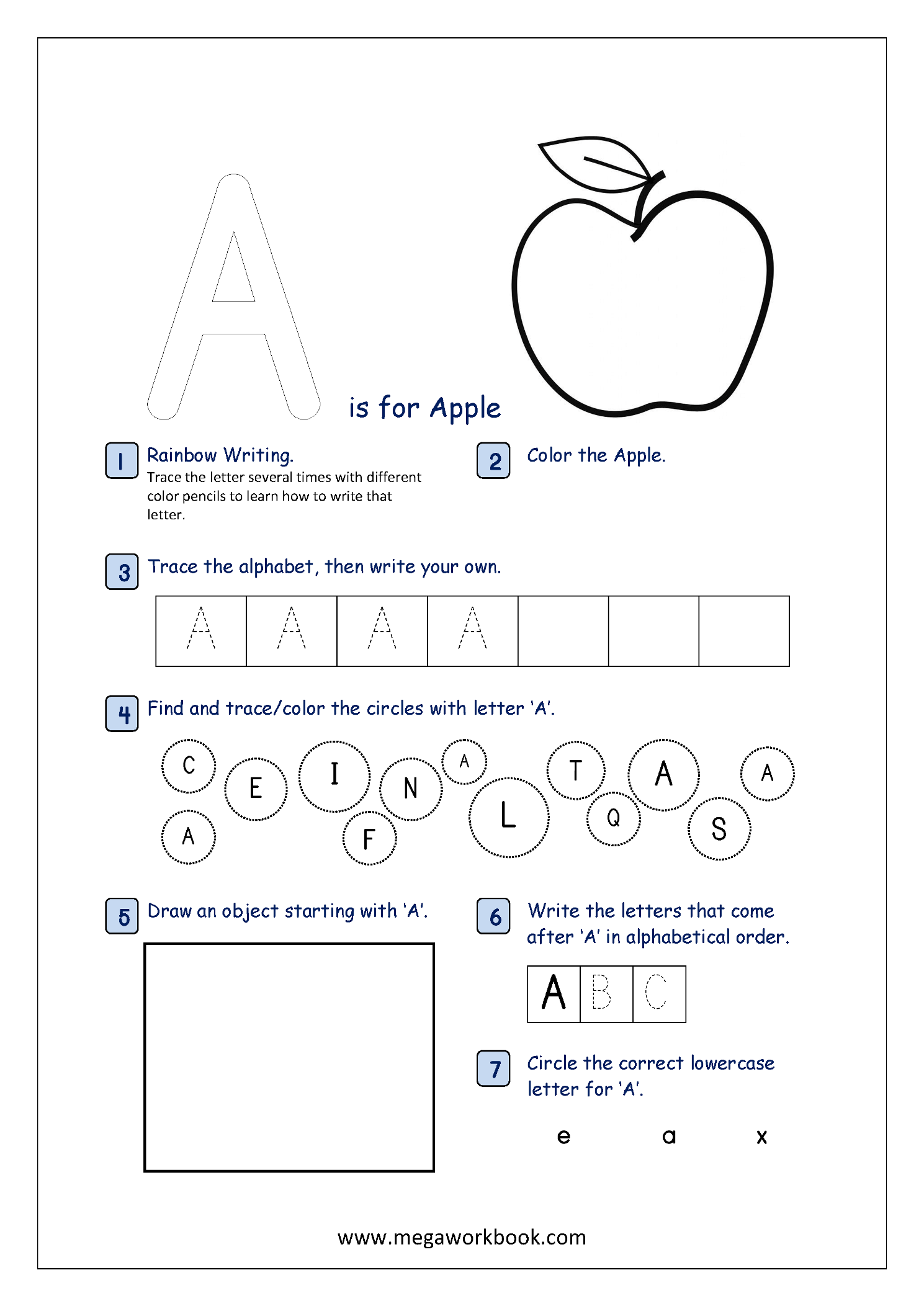 Free printable alphabet recognition worksheets for capital letters megaworkbook