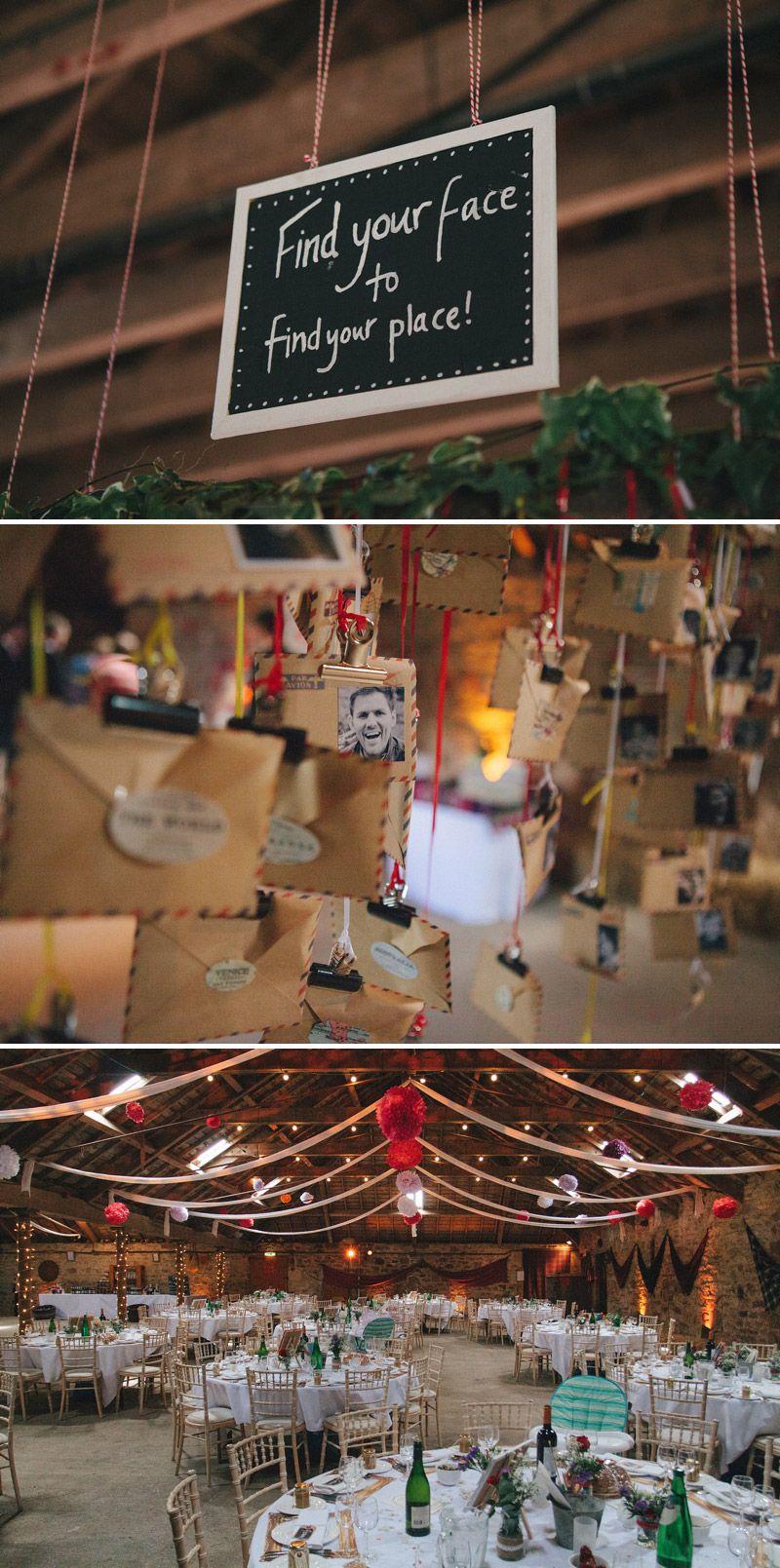 Cute Escort Card idea.  Make them with photos of your guests and hang them up for them to find. +++ Aninha, fui num casamento que tinha um porta-retrato por mesa com foto de cada convidado, dá mega trabalho mas o convidado se sente MUITO especial! Foi lindo!