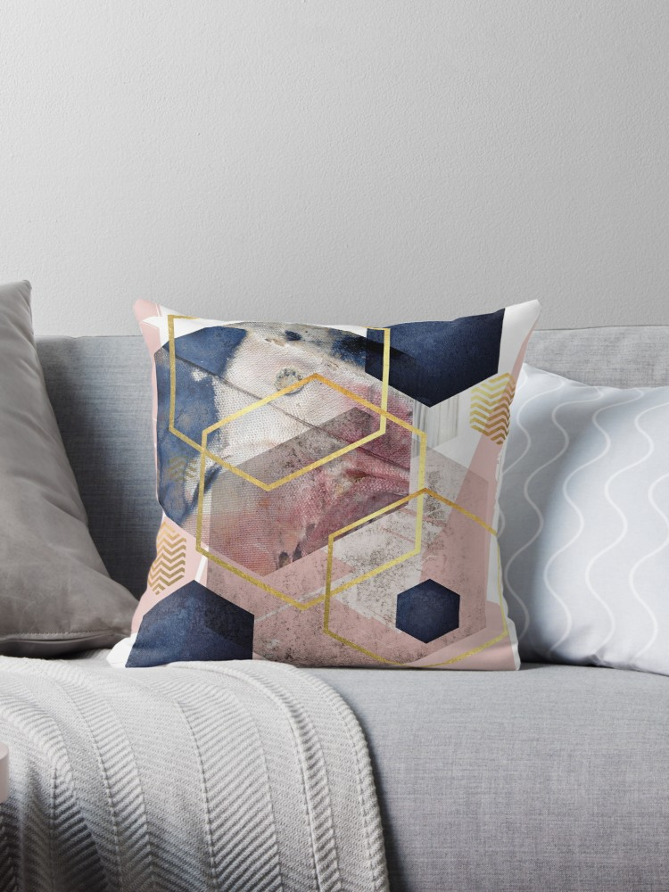 Abstract Geo Throw Pillow Throw Pillows Throw Cushions Blush Pink Living Room