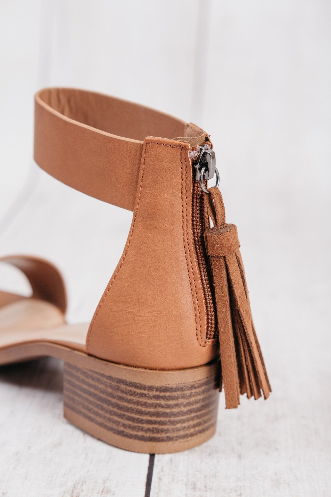 b67bf5602874 city classified women s dark tan briefly leather tassled zipper ankle strap  sandals