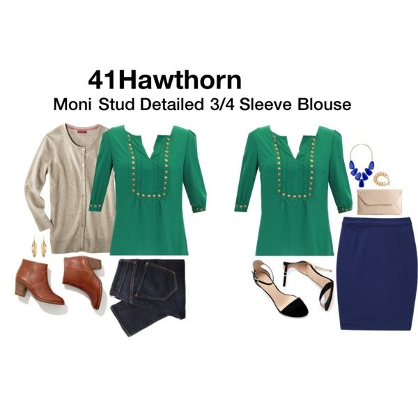 I would love this in this emerald green color!    41Hawthorn Stud Detailed 3/4 Sleeve Blouse