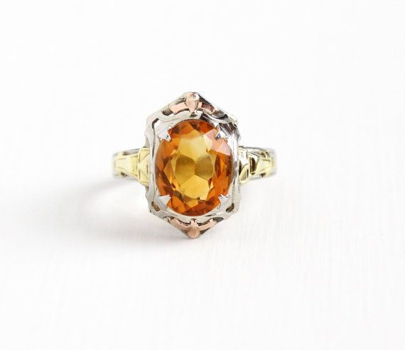 Vintage 10k White Gold Filigree Citrine Ring Size 5 Art Deco 1930s Orange Gem November Birthstone Rose Yellow Antique Rings Vintage Orange Gem Fine Jewelry