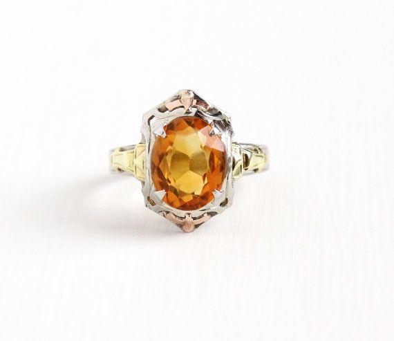 Vintage 10k White Gold Filigree Citrine Ring Size 5 Art Deco 1930s Orange Gem November Birthstone Rose Yellow Antique Rings Vintage Orange Gem Fine Jewelry