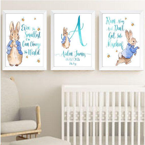 Printed peter rabbit nursery Prints,Nursery wall art Beatrix Potter Print.