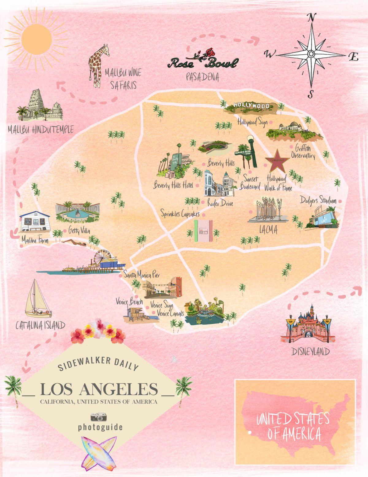 Photoguide Los Angeles California Sidewalker Daily California Travel Los Angeles Map California Travel Road Trips