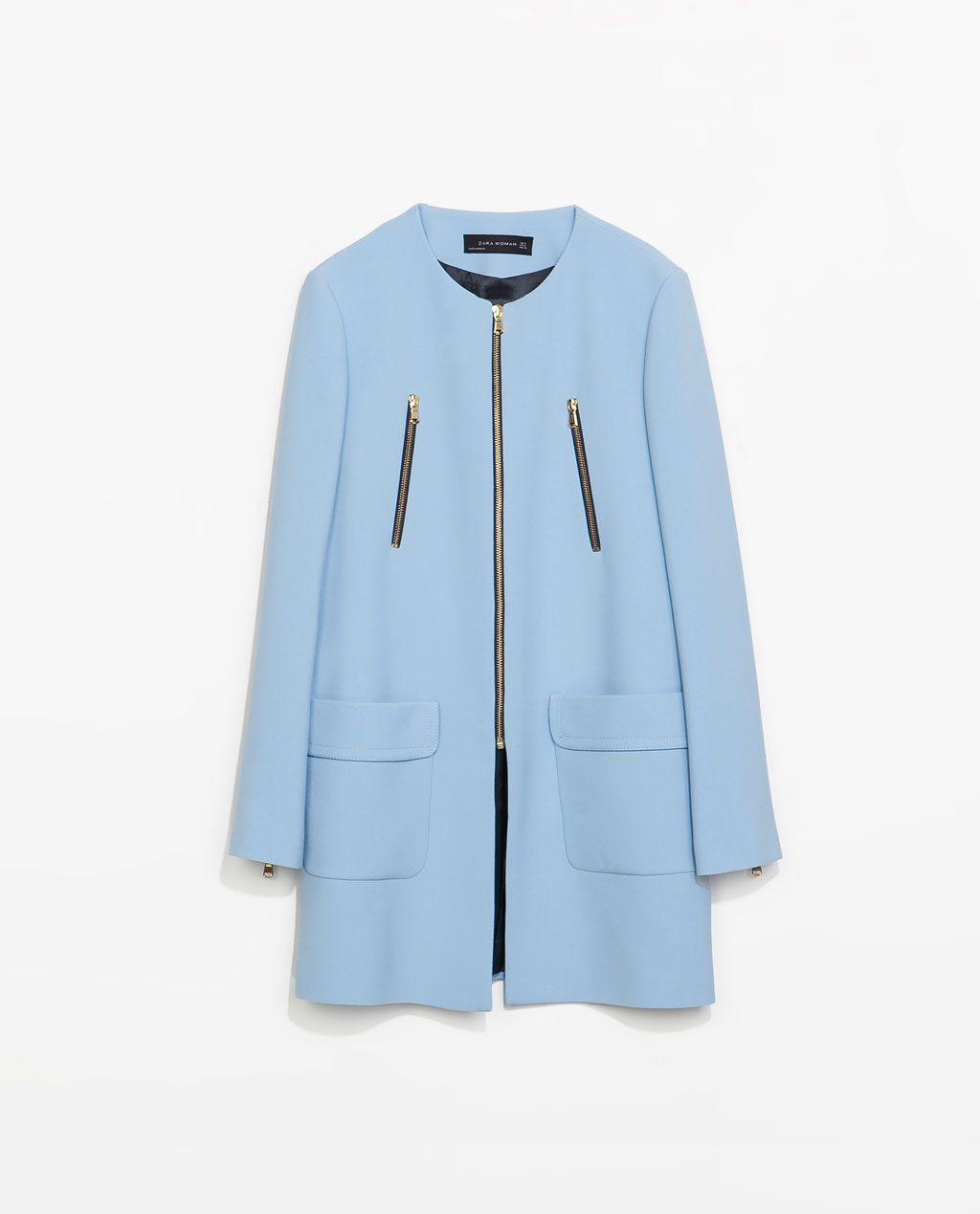 Image of coat with zips from zara styles construction