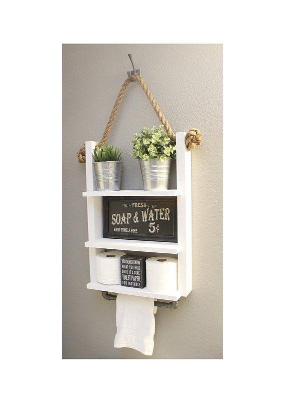 White Farmhouse Bathroom Shelf with Towel Bar, Bathroom Decor