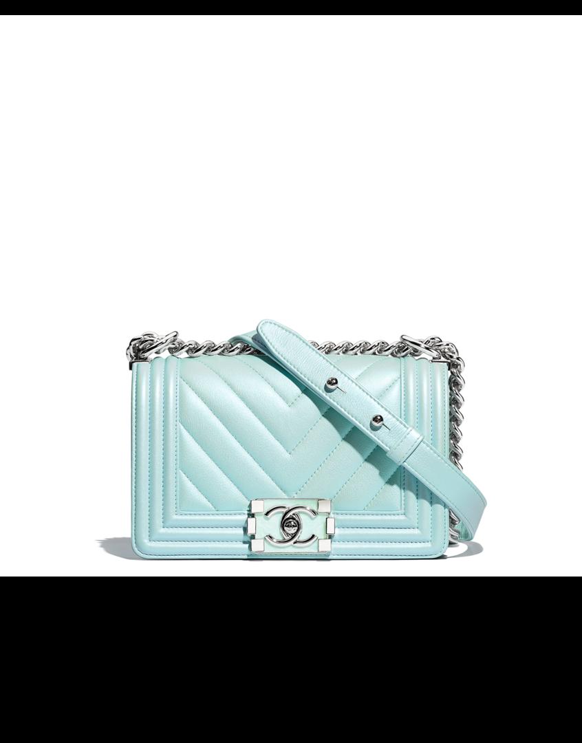 faed6f0afb1 Small BOY CHANEL handbag, metallic lambskin, resin & silver-tone metal-turquoise  - CHANEL