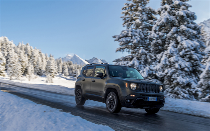 Download Wallpapers Jeep Renegade Road Winter 2018 Cars Suvs