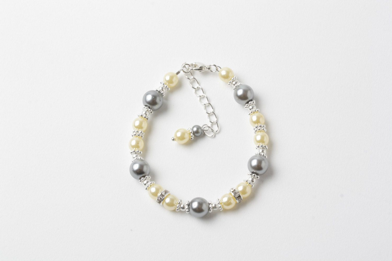 Flower girl bracelet yellow and grey pearl bracelet junior
