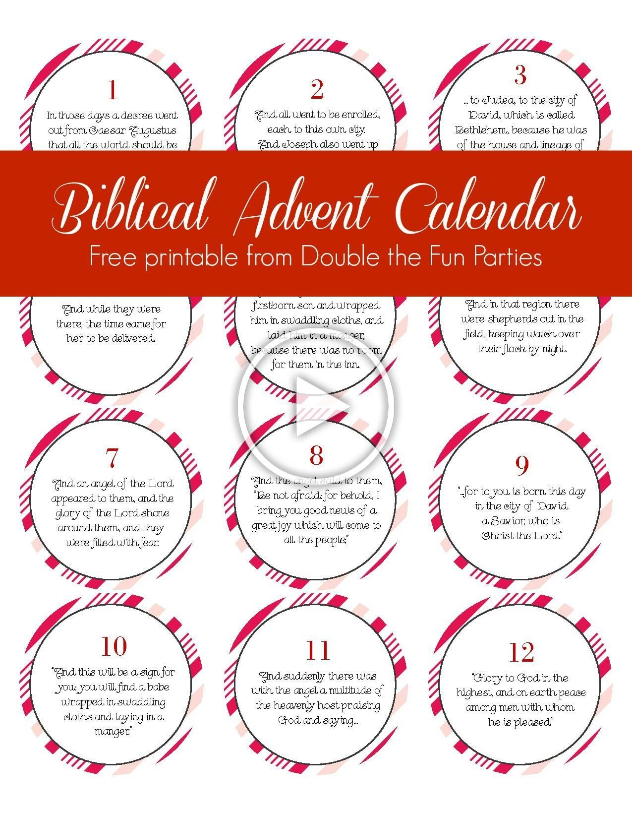 Biblical Advent Calendar Free Printable By Double The Fun
