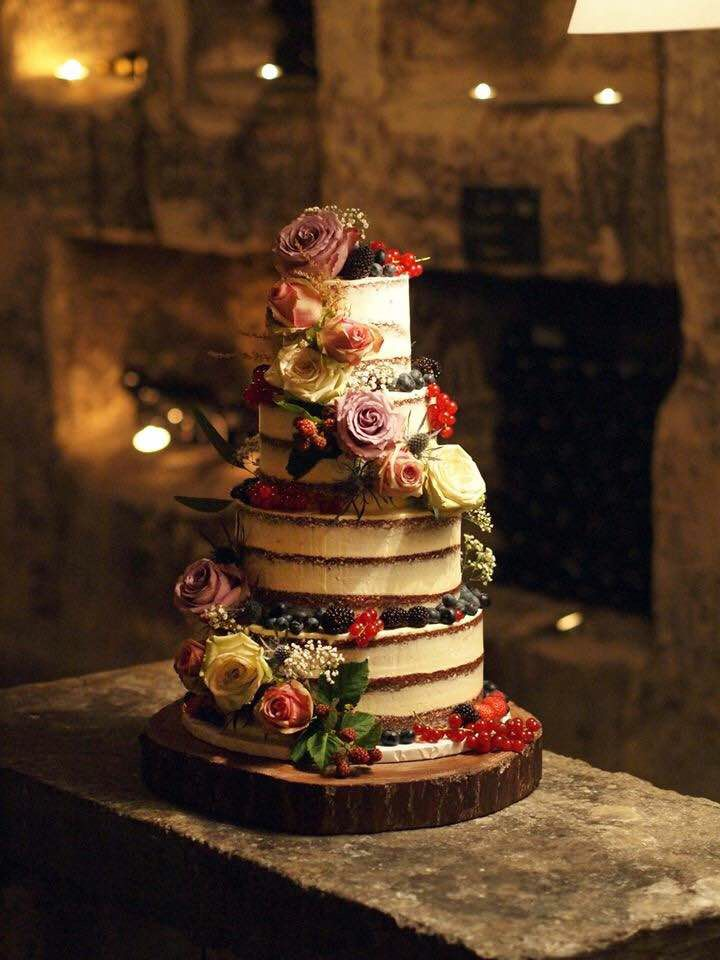 Semi Naked Wedding Cake with Berries No.W177 - Creative Cakes
