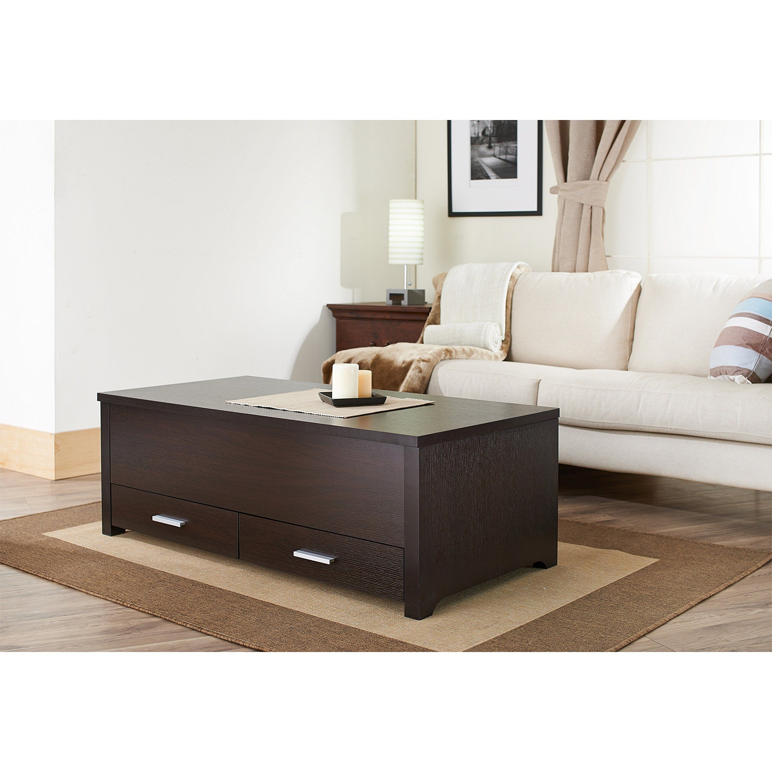 Dark Brown Storage Box Coffee Table With One Divided Slide Top Compartment Andamp Two Storage Drawers With Chrome Brush In 2020 Furniture Deals Furniture Coffee Table #storage #box #for #living #room